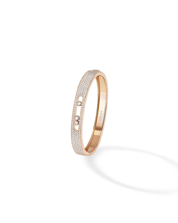 Pave and 3-Diamond Bracelet Bangle in 18k Rose Gold