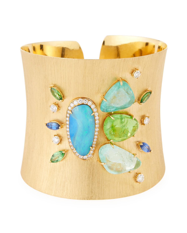 Margot McKinney Jewelry 18k Virescent Wide Cuff Bracelet JYVAscWy6d