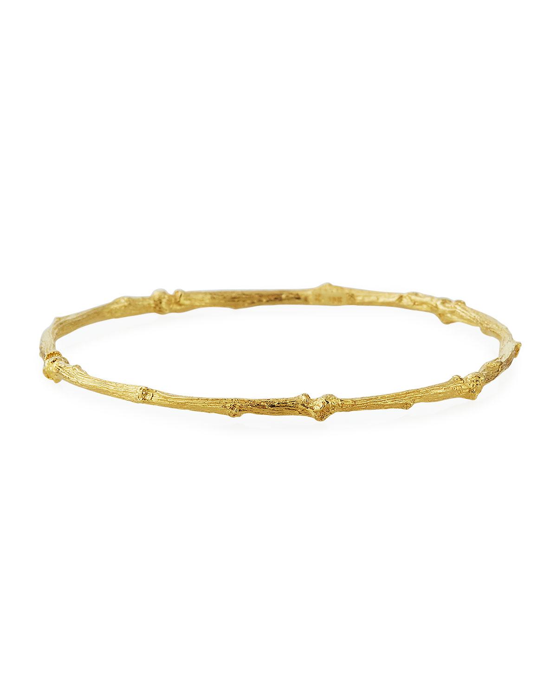 K BRUNINI 18K YELLOW GOLD TWIG BANGLE BRACELET WITH DIAMONDS