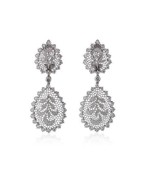 Buccellati Tulle Ornato 18k White Gold Pendant Earrings w/ Diamonds