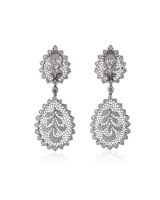 Tulle Ornato 18k White Gold Pendant Earrings w/ Diamonds