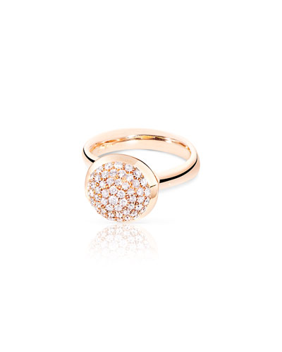 Bouton Large 18K Rose Gold Pave Diamond Dome Ring, Size 7/54