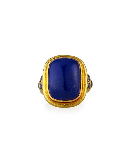 Elizabeth Locke 19k Lapis Cushion Blue Sapphire Trio Ring, Size 6.5