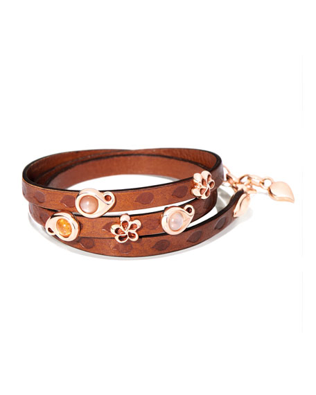 Tamara Comolli Loopy Camel Cabochon Leather Wrap Bracelet