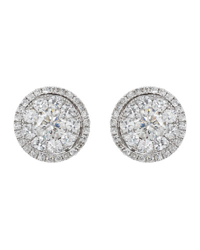 18k White Gold Diamond Stud Earrings, 2.45tcw