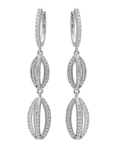 18k White Gold Diamond Double-Drop Earrings
