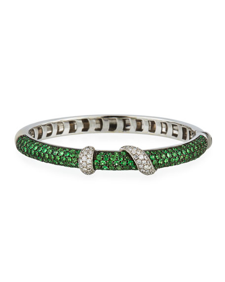 Andreoli 18k White Gold Tsavorite & Diamond Bangle