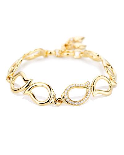 18k Diamond Leaf-Link Bracelet