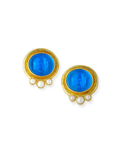19k Venetian Glass Intaglio & Pearl Earrings