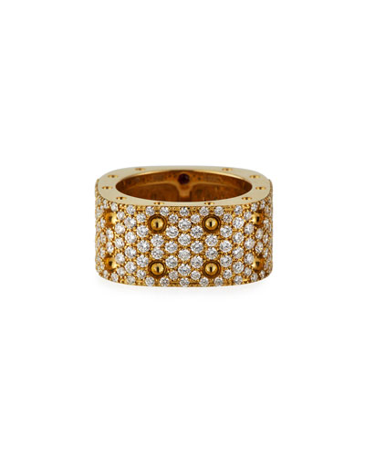 Pois Moi 18k Diamond Pave 2-Row Ring, Size 7