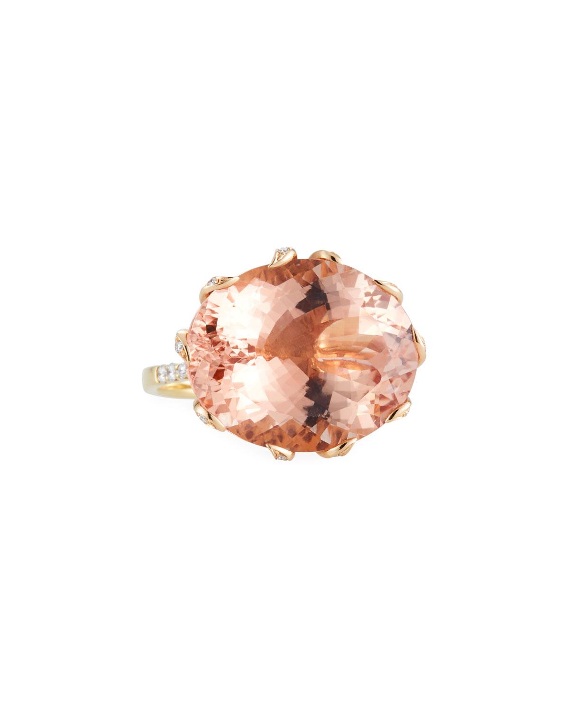 ALEXANDER LAUT 18K Gold Morganite & Diamond Ring, Size 7