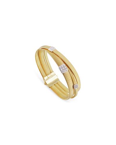 Masai 18K White Gold Three-Strand Bracelet with Diamond Stations