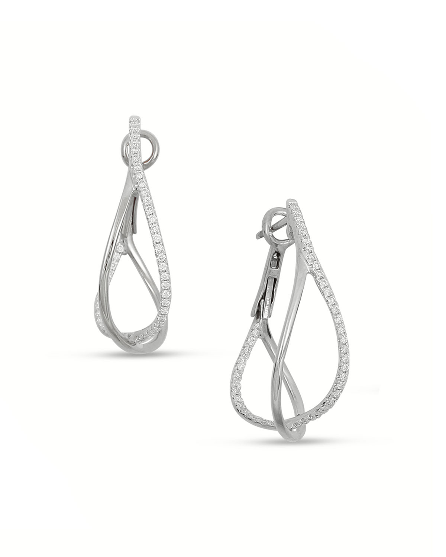 FREDERIC SAGE 18K White Gold Diamond Crossover Hoop Earrings