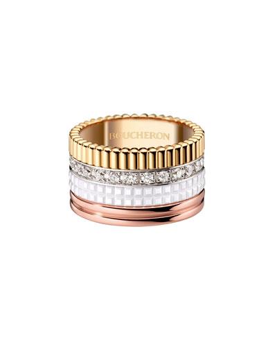Quatre Large 18K Gold & White Ceramic Ring with Diamonds, Size 53