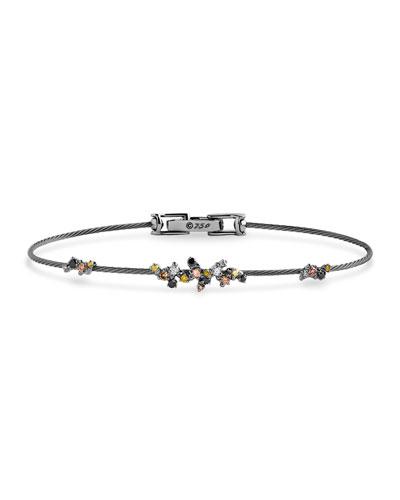 Confetti Wire Bracelet with Black & Cognac Diamonds