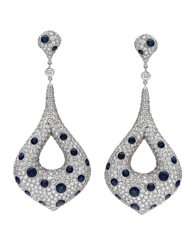 18k White Gold Diamond & Blue Sapphire Marquise Drop Earrings