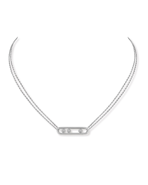 Move Diamond Pendant Necklace in 18K White Gold