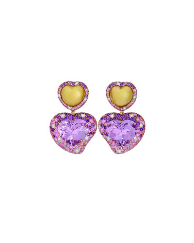 Hearts Desire Rose de France Amethyst Earrings