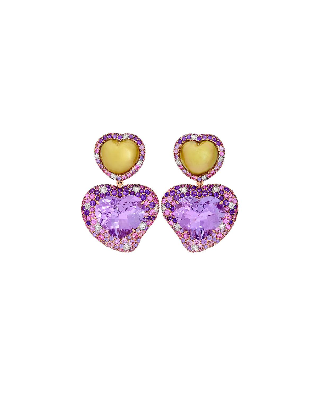 Hearts Desire Rose de France Amethyst Earrings