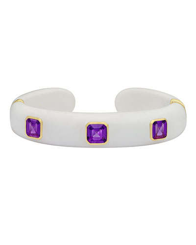 Weekend White Agate Cuff Bracelet with Amethyst Studs