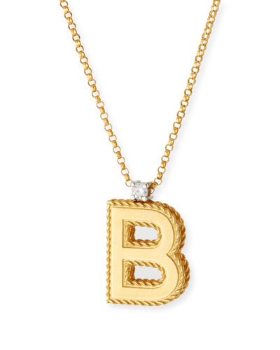 Princess 18K Yellow Gold Diamond Initial Necklace, B