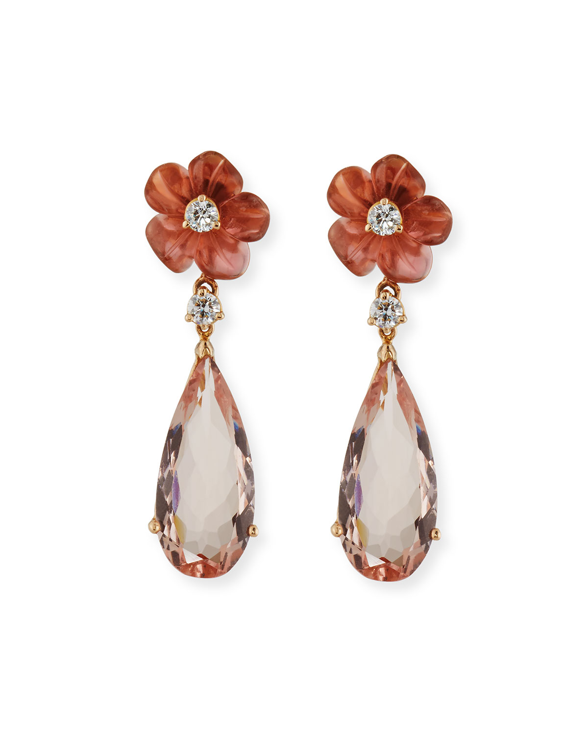 RINA LIMOR Pink Tourmaline Flower & Morganite Drop Earrings With Diamonds