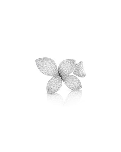 Giardini Secreti 18K White Gold Diamond 5-Petal Ring, Size 7