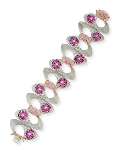 Pink Sapphire & Diamond Bracelet in Brushed 18K White Gold