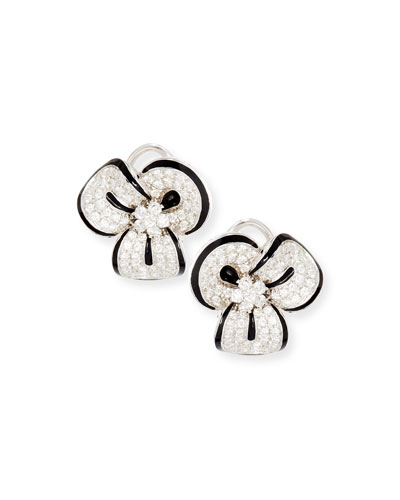 Diamond & Black Enamel Clover Earrings