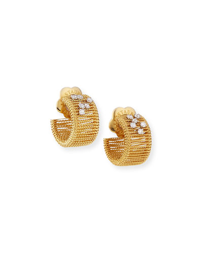 Renaissance Golden Groove Huggie Earrings with Diamonds