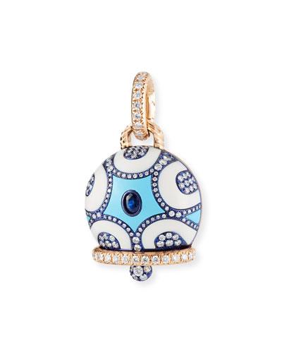 Blue Sapphire & Diamond Bell Charm in 18K Rose Gold