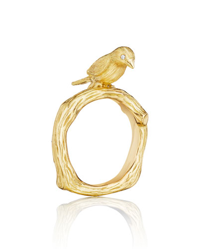 Wonderland 18K Gold Bird Ring, Size 7