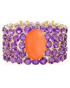 NYC Coral & Amethyst Cuff Bracelet in 18K Yellow Gold