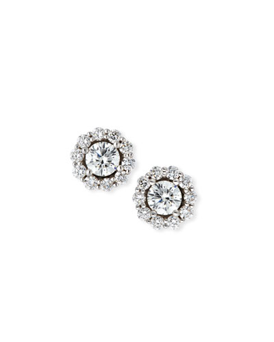 Blossom Diamond Stud Earrings in 18K White Gold, 1.0tdcw