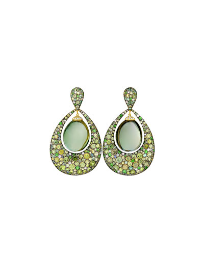 Greenbell Drop Earrings with Green Amethyst & Diamonds