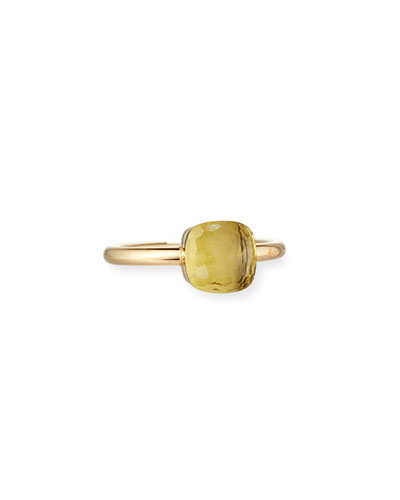 Nudo Mini Faceted Lemon Quartz Ring, Size 54