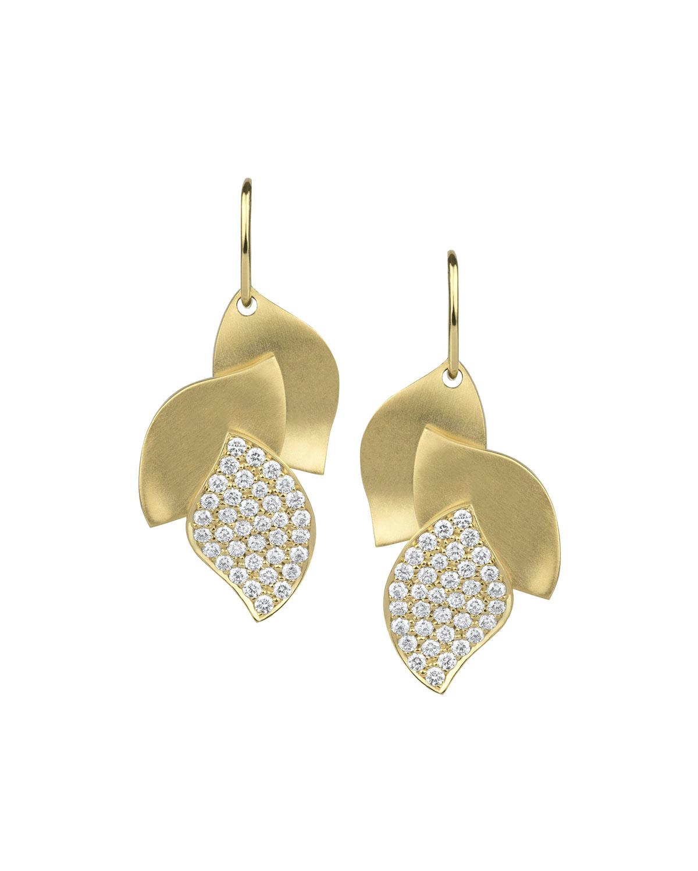 Lotus Pave Diamond Drop Earrings