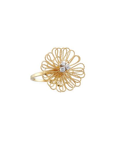 Renaissance Pompom 18K Gold Ring with Diamonds