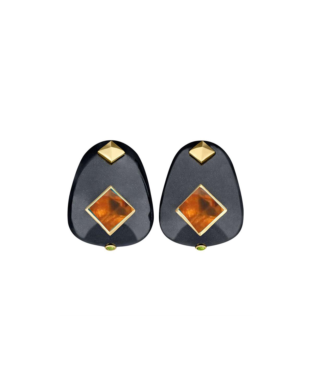 18k Black Jade & Citrine Earrings