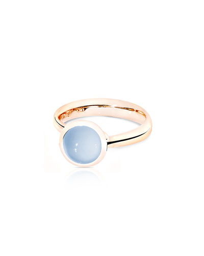Small Bouton Blue Chalcedony Cabochon Ring, Size 7/54