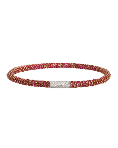 Stretch Ruby & White Diamond Bracelet, Size Medium