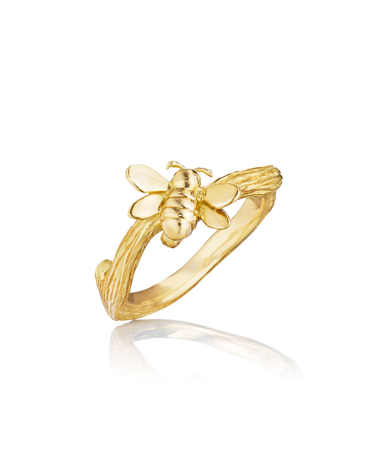 Wonderland 18K Gold Small Stackable Bee Ring, Size 6.5