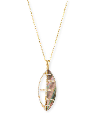 Black Mother-of-Pearl Pendant Necklace with Diamonds in 18K Yellow Gold
