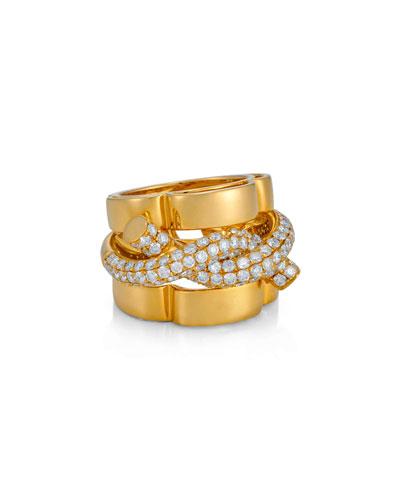BESSA Diamond Rope Ring In 18K Yellow Gold, Size 6.5