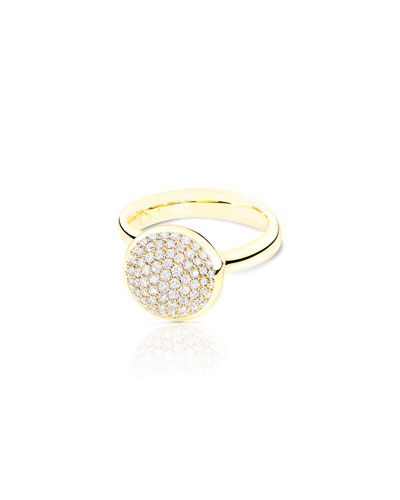 Bouton 18K Yellow Gold Pave Diamond Dome Ring