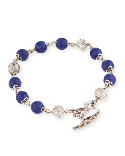 Fu 18K White Gold Lapis & Diamond Ball Bracelet