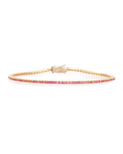 Pink Sapphire Line Bracelet in 18K Rose Gold