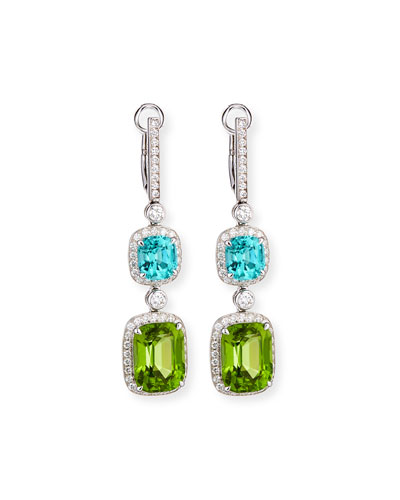 18K White Gold Diamond, Tourmaline & Peridot Drop Earrings