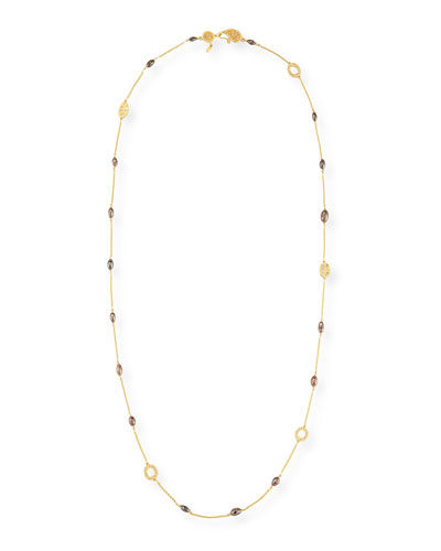 Brown Diamond Drum Bead Luminosity Necklace