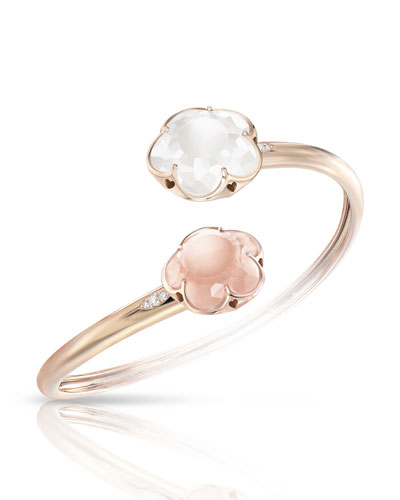 Bon Ton Rose & Milky Quartz Flower Bracelet in 18K Rose Gold